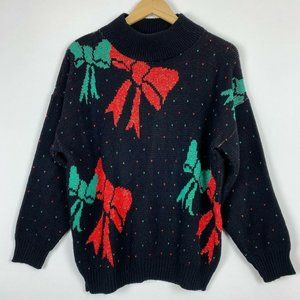 """Vintage 80s Christmas Sweater 42"""" Bust Black Red"""